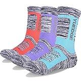 YUEDGE 3 Paires Femme Chaussettes de Randonnée Respirantes Anti-ampoules Chaussettes de Sport pour Trekking Marche Trail (L, Bleu/Rose/Violet)