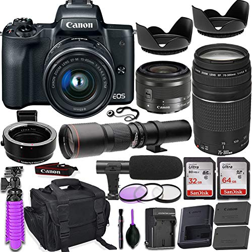Canon EOS M50 Mirrorless Camera (Black) w/M-Adapter & Canon Lenses - EF-M 15-45mm f/3.5-6.3 is STM and EF 75-300mm f/4-5.6 III + 500mm Preset Telephoto Lens + Deluxe Travel Accessory Bundle