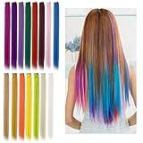 Viesap Extension De Cheveux, 15 Pcs Colorés Cheveux Raides Extensions Clip Extensions De Cheveux Rainbow Clip Multi-Couleurs En Postiche Pour Femmes Filles Enfants Cadeau Party Dress Up Accessoires.