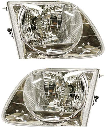 Headlight Set Compatible with 2004 Ford F-150 Heritage 1997-1999 F-250 Left Driver and Right Passenger Side Halogen With bulb(s)