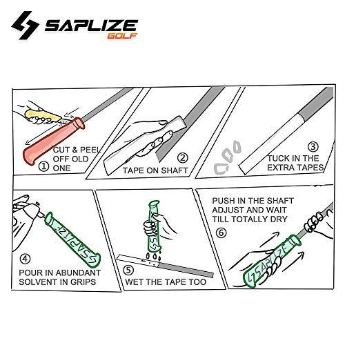 Product Image 8: SAPLIZE Golf Grips Set of 13 with Complete Regripping Kit, Midsize, Rubber Golf Club Grips, Green CC01S Series