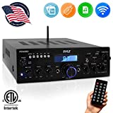 Wireless Bluetooth Power Amplifier System - 200W Dual Channel Sound Audio Stereo Receiver w/ USB, SD, AUX, MIC IN w/ Echo, Radio, LCD - For Home Theater Entertainment via RCA, Studio Use - Pyle PDA6BU
