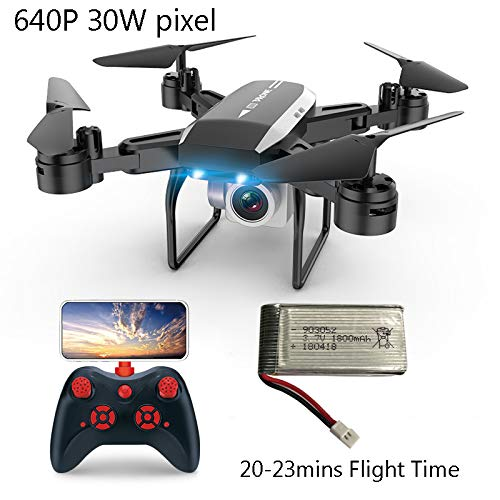 SBUNA WiFi FPV Drone con Telecamera 0.3MP 640P, Droni Rc Pieghevole, Batteria 23 Minuti, Quadcopter Selfie Pieghevole con App Controllo Foto di gesti Live Video per Principianti Bambini