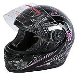 XFMT DOT Adult Flip Up Full Face Motorcycle Helmet Street Dirt Bike ATV Helmet Black Pink Butterfly L