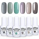 Perfect Summer LED UV Gel Nail Polish Kit - 6 Colors Soak Off Nail Polish Gel Varnish Gift Set,8ml Each #007