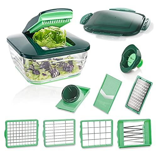 Genius Mandoline Nicer Dicer Chef 9 en 1 Multifunction Professionelle - Coupe-légumes avec bol en verre et coupe-tomates légumes | dés, bâtonnets, tranches