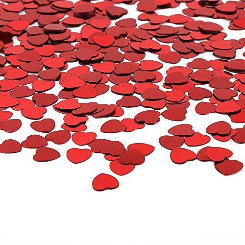Vegena 5000 Pezzi Cuore Metallica Lamina Cuori Glitter Lustrino Paillettes Coriandoli per Scrapbooking San Valentine Matrimoni Compleanni Battesimi Nozze Festa Decorazione di Tavola Rosso 10 mm