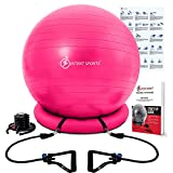 Intent Sports Yoga Ball Chair – Stability Ball with Inflatable Stability Base & Resistance Bands, Fitness Ball for Home Gym, Office, Improves Back Pain, Core, Posture & Balance (65 cm) (Pink) (Misc.)