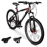 Sirdar S-700 Mountain Bike for Adult and Youth, 27 Speed 26 inch Lightweight Mountain Bikes Dual Disc Brakes Suspension Fork with 2 Replaceable Saddle for Outdoor Outroad