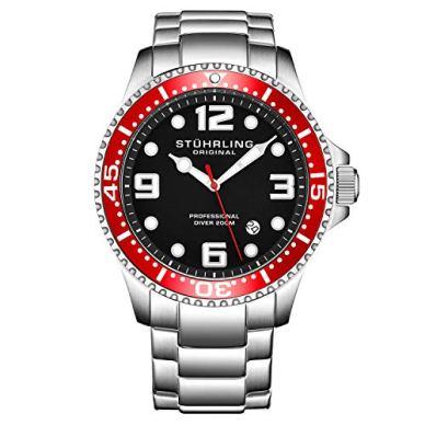 Stuhrling Original Mens Swiss Quartz Stainless Steel Sport Analog Dive Watch, Water Resistant 200 Meters, Black Dial, Aqua-Diver (Black/Red)