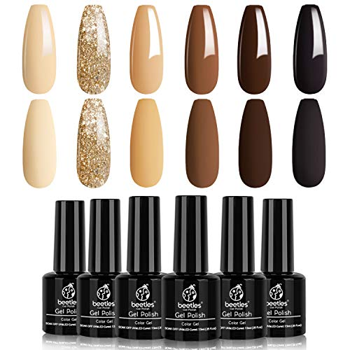 Beetles Gel Nail Polish Set 6 Colors Roasted Chestnuts Collection Chocolate Brown Gel Polish Kit Neutral Beige Khaki Gold Glitter Yellow Autumn Gel Polish Nail Art Mani Christmas Gifts