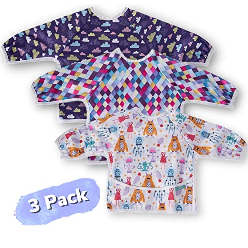CozyBear Long Sleeve Baby Bibs with Food Catcher, 3Pack, Waterproof Full Body Apron for Self Feeding and Early Learning, Wipeable Fabric, Fits Toddlers 6-24 Months (Monster, Clouds, Pink)