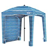 Qipi Beach Cabana - Easy to Set Up Canopy, Waterproof, Portable 6' x 6' Beach Shelter, Included Side Wall, Shade with UPF 50+ UV Protection, Ultimate Sun Umbrella - for Kids, Family - Siesta Beach