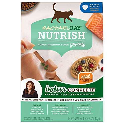Rachael Ray Nutrish Indoor Complete Premium Natural Dry Cat Food, Chicken with Lentils & Salmon Recipe, 6 Pounds (Packaging May Vary)