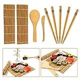 Kit de fabrication de sushis en bambou, 9 pièces, tapis à rouler en...