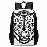 AOOEDM Bolsa para la Escuela Backpack 17 Inch Mochila Unisex, Angry Tiger Head Negro Blanco Vector Mochila Informal para computadora portátil de 17 Pulgadas Mochila Escolar Impermeable Mochilas, Bols