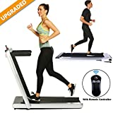 2 in 1 Under Desk Folding Treadmill,Electric Motorized Portable Pad Treadmills Walking Jogging Running Exercise Fitness Machine with Remote Controller and Bluetooth Speaker for Home Gym (Silver)