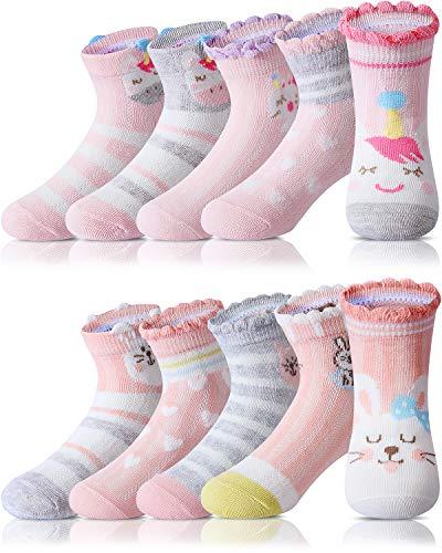 Adorel Calzini Calze Corte Cotone Bambina 10 Paia Calzini Estivi Unicorno 31-34 (Dimensione del produttore XL)