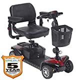 (New Model) Drive Medical Spitfire DST 4-Wheel Travel Scooter Including 5 Year Ext Warr incl Batteries