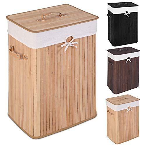 GOPLUS Wäschekorb Wäschebox Wäschebehälter Wäschesammler Wäschetruhe aus Bambus Frabwahl 72L (Natur)