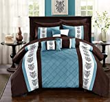 Chic Home Clayton 10 Comforter Pintuck Pieced Block Embroidery Bed in a Bag with Sheet Set Blue, King, Brown