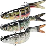 TRUSCEND Fishing Lures for Bass 4.9' Multi Jointed Swimbaits Slow Sinking Hard Lure Fishing Tackle Kits Lifelike (Combination B)