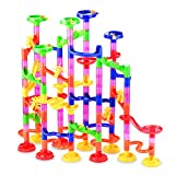 Gifts2U Marble Run Toy, 130Pcs Educational Construction Maze Block Toy Set with Glass Marbles for...