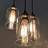 VILUXY Vintage 3 Light Glass Pendant Light Classic Cluster Chandelier Hanging Lighting Fixture with Seeded Glass Shades for Kitchen Island, Dinning Room, Bar, Cafe,Farmhouse