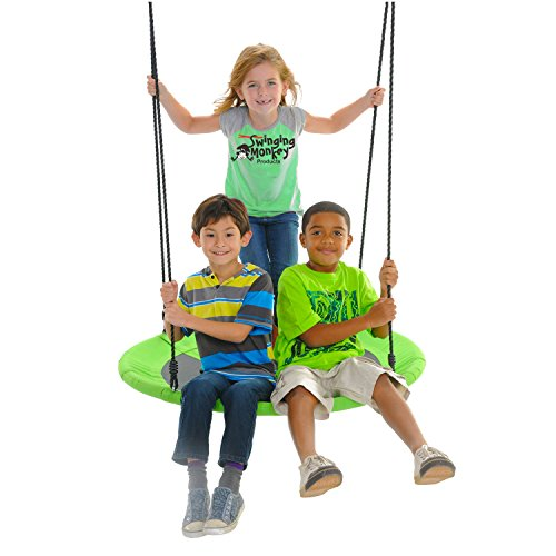 """Swinging Monkey Products Giant 40"""" Saucer Tree Swing, 900D Oxford Fabric, Steel Frame, Simple Installation, Nest Swing (Green)"""