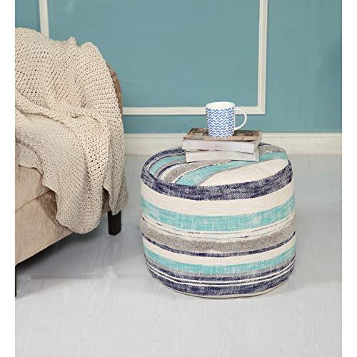 LR Home Coastal Stripe Pouf, 18'x14', White/Blue
