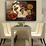 GJQFJBS Cocina Decoración Grano Especias Chile Cocina Lienzo Pintura Impresión de póster Arte de la Pared Imagen Sala de Estar A1 60x90cm