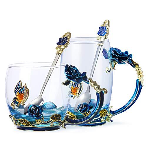 Tea Cup Coffee Mug Glassess Cups & Spoon Beautiful Unique...