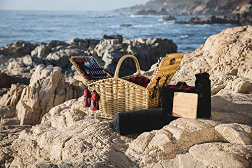 Picnic Time Somerset English-Style Double Lid Willow Picnic Basket with Service for 2 , Red/Black Buffalo Plaid