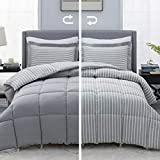 Bedsure Grey Queen/Full Comforter Set - 3 Piece Reversible Percale Stripes Down Alternative Box Stitching Duvet Insert with 8 Corner Tabs - All Season Bed Set with 2 Pillow Shams
