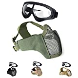 Unigear Half Face Lower Mask Foldable Mesh Adjustable Tactical Metal Steel Mask for Airsoft/Hunting/Paintball/Shooting
