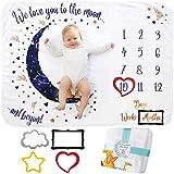 Couverture Étape Mensuelle pour Bébé, Unisexe   Couverture Étape Au Mois   Cadeau Personnalisé pour Les Fêtes Prénatales   Suivez La Croissance du Bébé   Douce, Épaisse, Grande