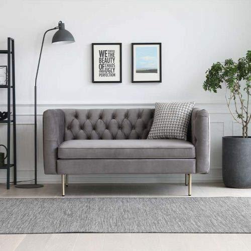 JVmoebel Chesterfield - Divano a 2 posti, in tessuto, per divano a 2 posti, colore: grigio