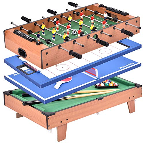 Giantex Multi Game Table, 4 in 1 32'' Combo Mini Game Table Top w/Soccer, Slide Hockey, Billiard, Table Tennis, Perfect for Game Room, Arcades, Family Night, Wood Foosball Game Table Top w/Footballs