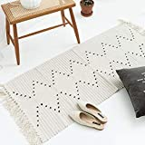 Hand Woven Rug, Boho Rug for Bedroom, Cotton Small Tassels Area Rug for Kitchen Laundry Bathroom Doorway, Beige 2'x3'