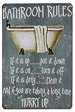 Hioni Bathroom Rules, Pancarte en Métal Panneau Poster Plaque Métallique Slogan Art...