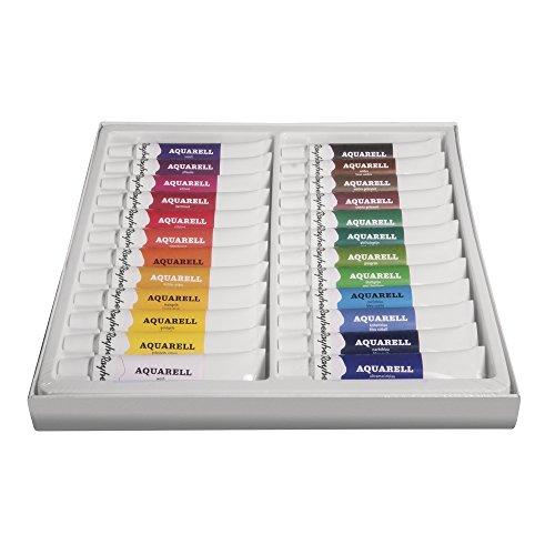 Rayher Hobby 38916000 Künstler-Set Aquarellfarben, 24 Farben, x 12 ml