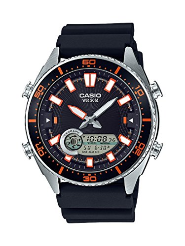 Casio Men's 'Ana-Digi' Quartz Metal and Resin Casual Watch, Color:Black (Model: AMW-720-1AVCF)
