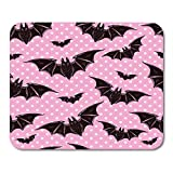 Semtomn Mouse Pad Rubber Mini 9.5' x 7.9' Rectangle Pink Evil Halloween Pattern Bats Holiday Symbols Cute Gothic Colorful Vampire Mousepad Smooth Gaming Notebook Computer Accessories Backing