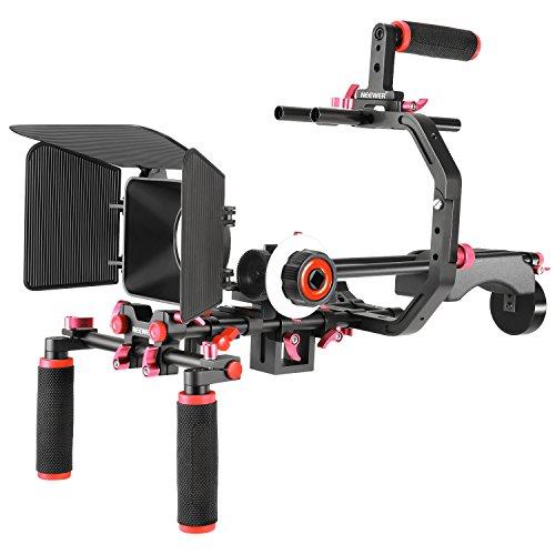 Neewer フィルム映画ムービー製作システムキット Canon/Nikon/Sonyと他のDSLRカメラ及びビデオカメラなどに対応 セット内容:C型ブラケット、ハンドルグリップ、15mmロッド、マットボックス、フォローフォーカス、ショルダーリグ「赤+黒」