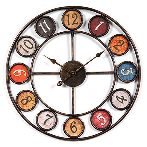 OviTop 60cm Europeo Stile Orologio da Parete Vintage Orologio da Parete Silenzioso Orologio da...