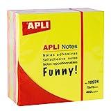 APLI 10974 - Notas adhesivas FUNNY 75 x 75 mm cubo de 400 hojas 4 colores surtidos fluorescente