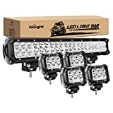 Nilight - ZH003 20Inch 126W Spot Flood Combo Led Light Bar 4PCS 4Inch 18W Spot LED Pods Fog Lights for Jeep Wrangler Boat Truck Tractor Trailer Off-Road, 2 Years Warranty