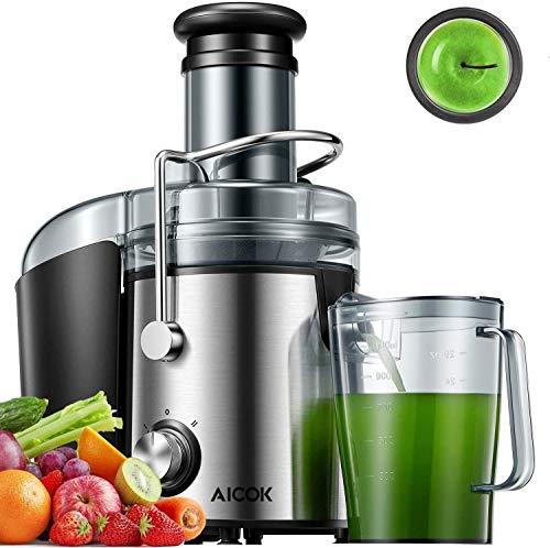 Aicok Centrifuga Frutta e Verdura, 800W Potente Estrattore di Succo Freddo con 75MM Bocca Larga, Piedi Anti-scivolosi e Facile Pulizia, Centrifuga di Acciaio Inox con 2 Velocit, Senza BPA