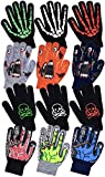 Boys Scary Skeleton & Monster Knit Glove Sets in 6 Creepy Styles and Colors (B6B1568 Monster Green)