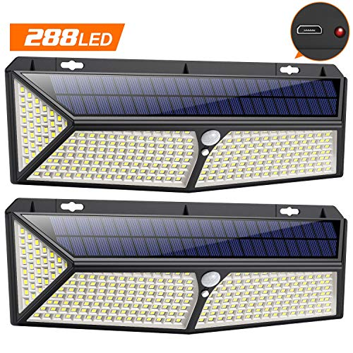 Luci Solari Esterno,288LED-USB RicaricabileVOOE Lampade Solari a led da Esterno con Sensore di Movimento,300Illuminazione Lampada Solare 3 Modalit Impermeabile Luce Solare led Esterno per Giardino